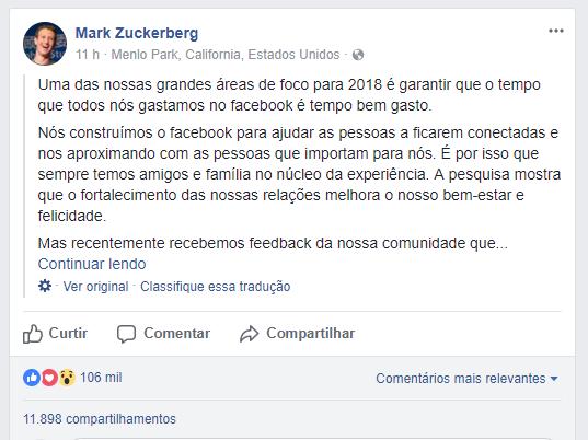 Posts de amigos e parentes serão prioridade no feed de notícias do Facebook
